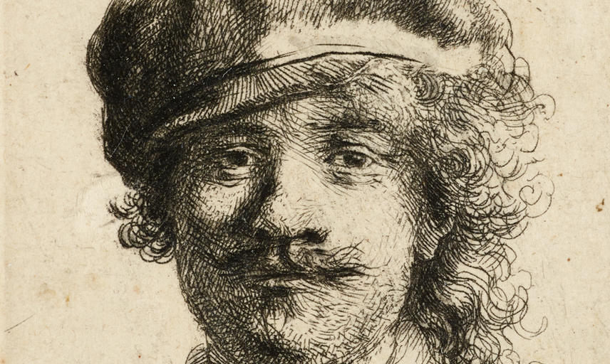 An etching of a young man in a cap.