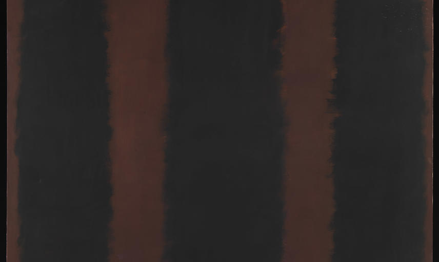 Rothko painting go black lines on a maroon background.
