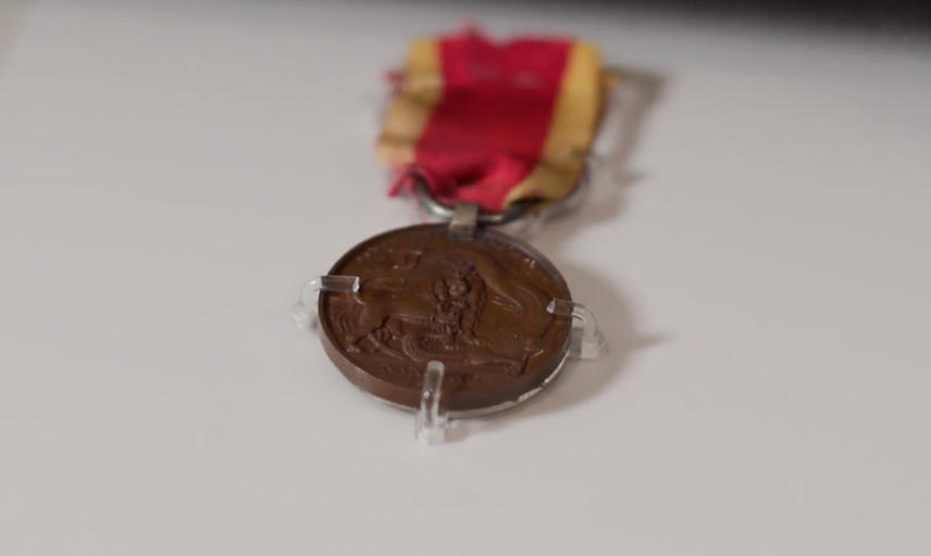 A medal on display in a Museum case