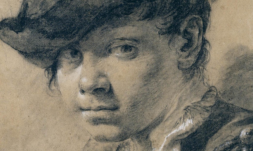 Drawing of a head of a young boy