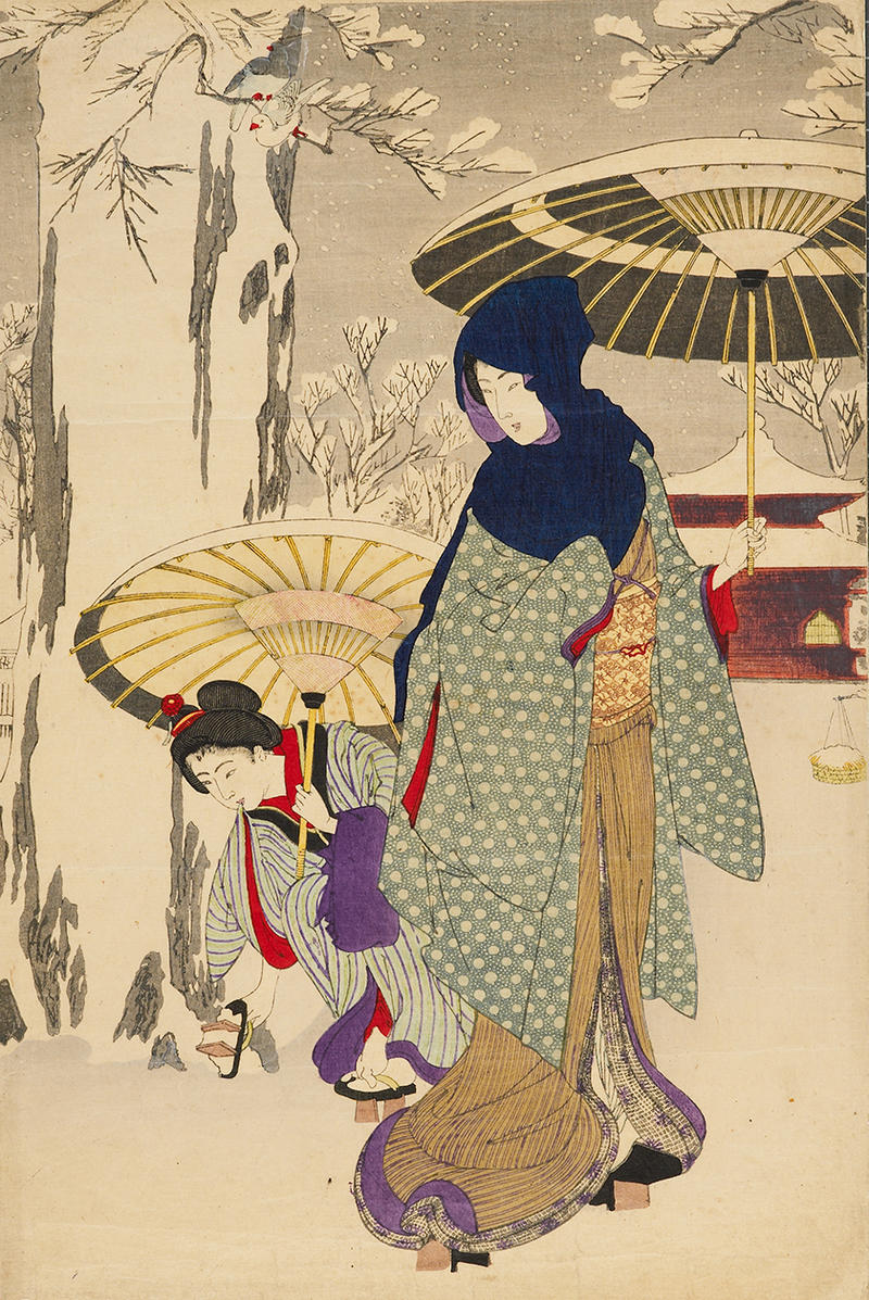 Two japanese women in a snowy park
