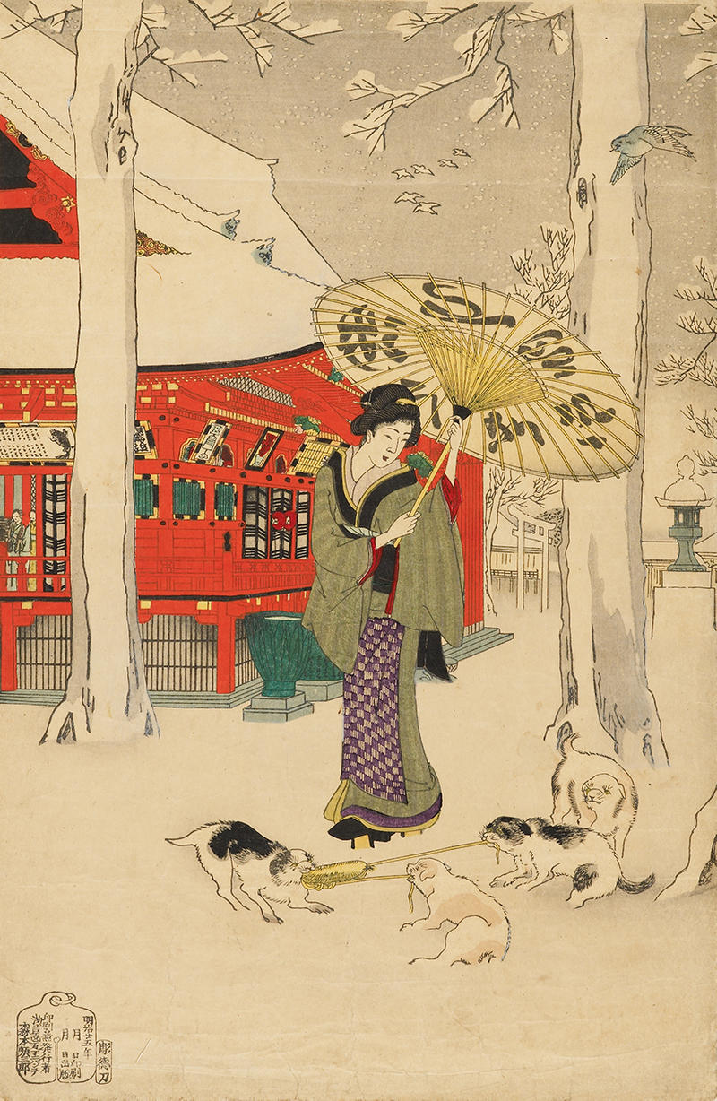 A japanese woman in a snowy park with her dogs
