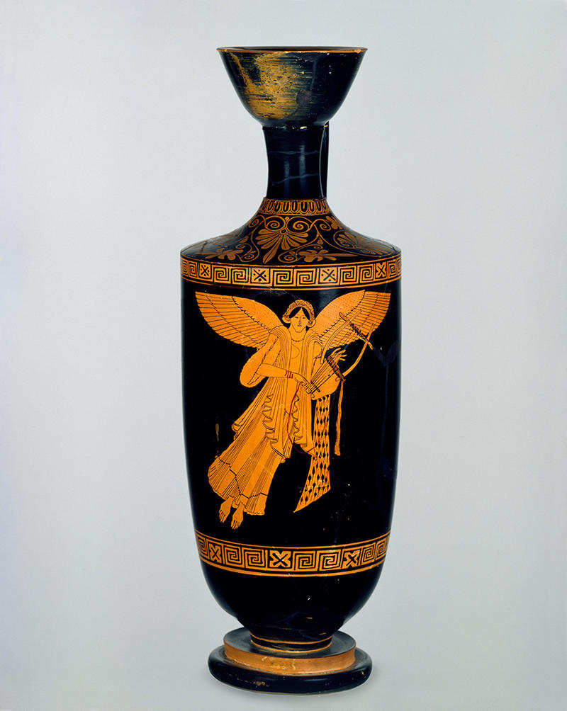 A winged Nike on a ceramic pot