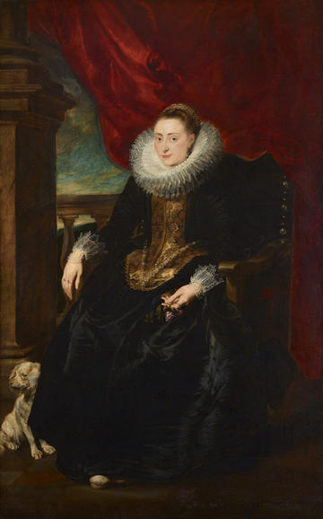 Painting of a seated woman who is wearing a ruff, with a small dog at her feet and with a draped red cloth behind her