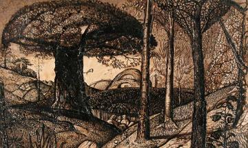 Pen and ink drawing by Samuel Palmer at the ashmolean museum