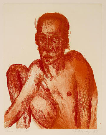 etching of man printed in orange and red on heavy white Fabriano paper Rainer Fetting