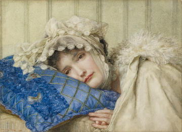 Landscape watercolour of Girl in a Bonnet with her Head on a Blue Pillow
