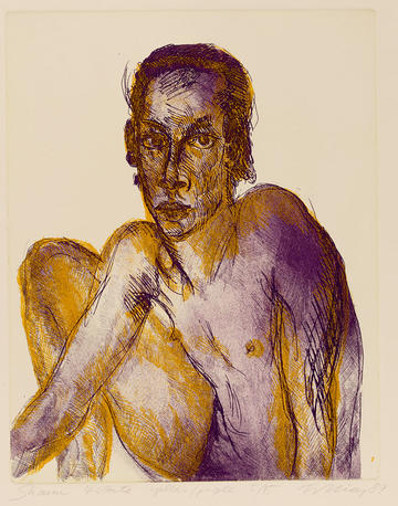 etching of man printed in yellow and purple on heavy white Fabriano paper by Artist Rainer Fetting