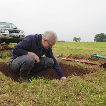 Dr John Naylor excavating in Shropshire