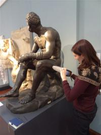Analysing a bronze painted plaster cast using X Ray Fluorescence equipment (Cranfield University)
