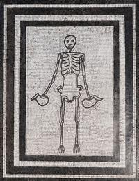 Mosaic of a skeleton holding two wine jugs or askoi. First century AD © Archaeological Museum Naples