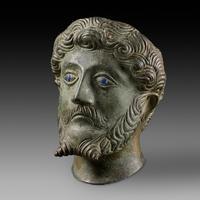 A half life size bronze bust of Emperor Marcus Aurelius