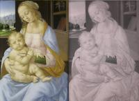 Lorenzo di Credi (1457 - 1536), Virgin and Child. Infra red light image shows under drawing.