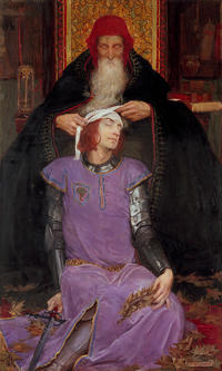 portrait painting of and old man bandaging up a younger mans head