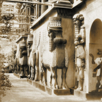 Facade of the Nineveh Court in the Crystal Palace, Sydenham Hill, London, about 1859, showing casts of the lamassus from Nineveh excavated by Layard
